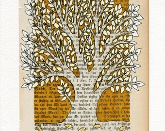 Tree   - Original ink drawing - illustration on vintage book page - mustard yellow