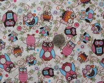 Adornit Life's A Hoot, Owls Pink OOP Fabric - Half Yard