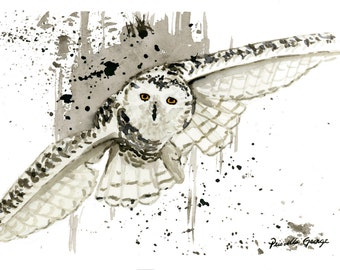 Flying Owl Watercolor Painting Print  5 x7, 8 x 10, and 11 x 14