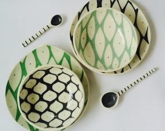 Hand made ceramic dinnerware set-mix match pattern-New Leaf motif-Honeycomb motif-spring green, grey