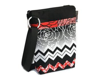 Hip Zip Purse - Cell Phone pocket inside and slip pocket outside - Cross Body Bag - Borsa Bella - Chevron Elegance Fabric