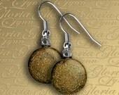 Dichroic Fused Glass Earrings - Gold - ER464
