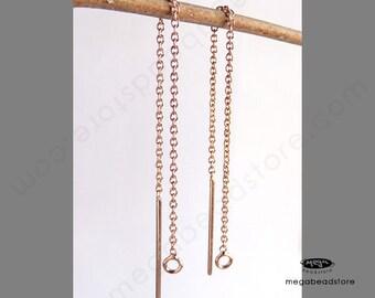 6 pcs 14K Rose (Pink) Gold Filled GF Ear thread Ear Wire F219RGF