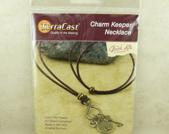 TierraCast Quick Kit Charm Keeper Necklace - Leather Brass Tree of Life Heart Key - American Made Lead Free Pewter - I ship Internationally