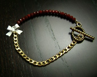 White and Maroon Itty Bitty Bow and Crystal Bracelet