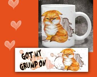 CAT MUG.  Got My Grump On. Grumpy Cat Orange Tabby. Cat Coffee Mug