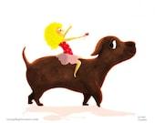 "Girl birthday, Princess card, girl and dog, best friends, pink  - ""Dog walker"""