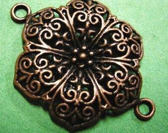2pc antique copper lead nickel free flower fancy links-1599A