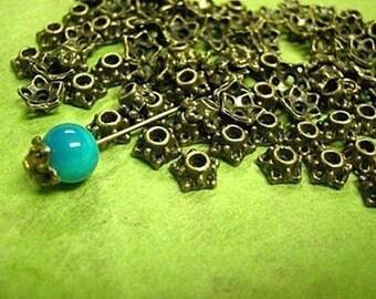 24 pc 7mm antique bronze metal bead cap-1683