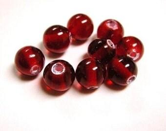 50pc 8mm darkred round glass beads-2211