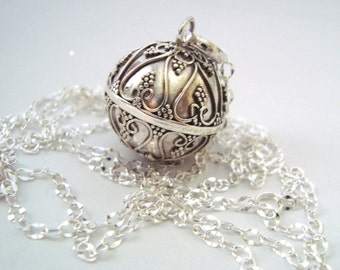 16mm Mexican Bola Sterling Silver Maternity Pregnancy hearts Harmony ball Chime Necklace chain
