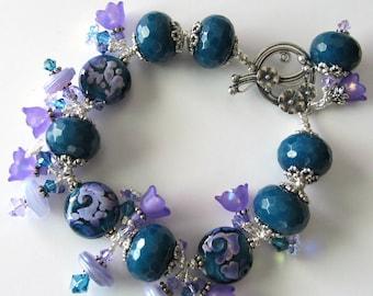 Lampwork Beaded Bracelet Violet and Teal Purple Lucite Flowers Crystals Teal Jade Gemstones Silver Bracelet Beaded Jewelry One of a Kind