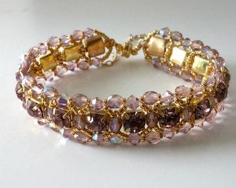 Crystal Rhinestone Bracelet, Light Amethyst, Bridal, Wedding, Beaded Jewelry, Beaded Bracelet, Crystal Tennis Bracelet..Romancing the Stone