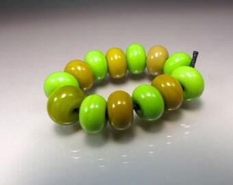 Handmade Lampwork Spacer Bead Set by GlassBeadArt   ...  Green Mix  ... SRA F12  ... 10x7mm