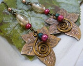 Autumn Antique Brass Ivy Leaf and Cranberry Pearl Earrings