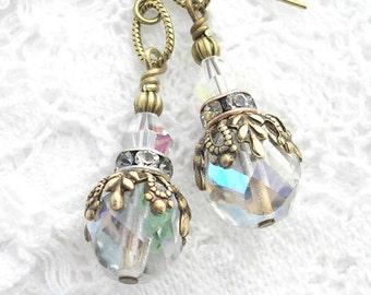 Crystal Clear Aurora Borealis Glass Dangle Drop Earrings