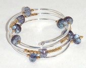 SALE Blue Czech Crystal and Silver Memory Wire Bracelet with Gold