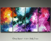 "Large wall art, four canvas prints XXL from my original abstract painting Deep Space, 24x48"", four 12x24"" canvases"