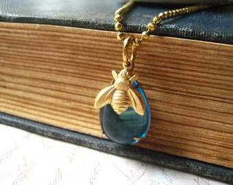 Bee Necklace, Bee Charm, Blue Jewel, Teardrop Jewel, beaded chain, brass bee charm, golden bee, womens jewelry candies64 golden brass
