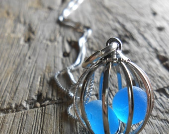 FAUX Sea Glass Necklace, Beach Glass Jewelry, LOVE BIRDS - Cage Locket Jewelry