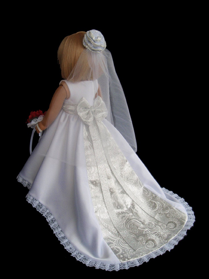 American girl doll wedding dress satin and silver for American girl wedding dress