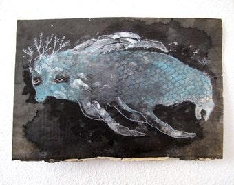 Sea Lobster Dugong Silver Blue Fish Monoprint Original Sea Monster