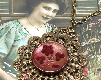 Antique Perfume BUTTON necklace, Victorian velvet flowers in maroon. Antique button jewelry, jewellery.