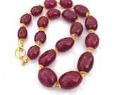 Phenomenal Ruby, Vermeil, Byzantine Inspired Fine Gemstone 1200 ctw Necklace...