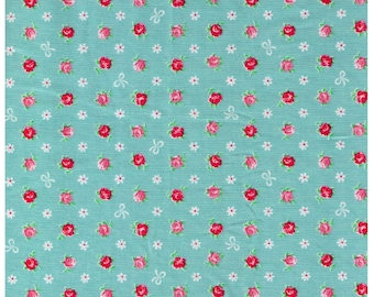 HALF YARD - Mini Red and Pink Rose Buds with White Bows on Blue - Flowers, Lolita, Kawaii - Cosmo Textiles, Japanese Import