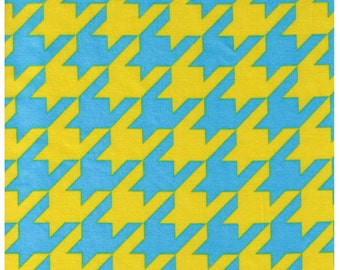 HALF YARD - Cosmo Textiles, Japanese Import, Blue and Yellow Houndstooth