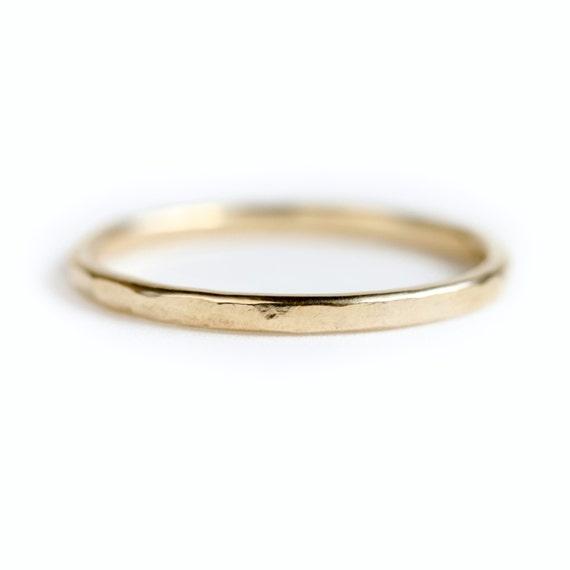 14k gold wedding band - Hammered gold wedding ring - hammered gold ring