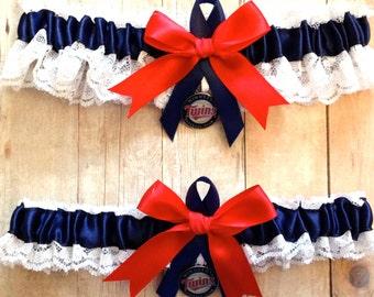 Minnesota Twins Wedding Garter Set   Handmade  Lace  with charms  keepsake and toss NRNG