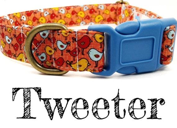 Tweeter - Organic Cotton Dog Collar - Birds - All Antique Brass Hardware