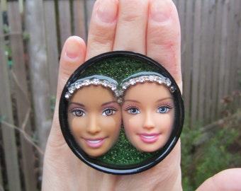 Opposites Attract - Upcycled Barbie and Babie Adjustable Ring
