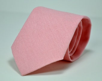 Men's Necktie in Pink Linen
