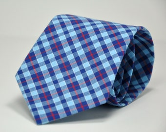 Men's Necktie in Royal Blue and Red Plaid - Cotton Necktie - Custom Ties