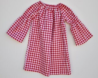 Girls Christmas Dress, Red and White Dress, Houndstooth Dress, Long Sleeve Dress, All Sizes, Holiday Dress, Flannel Peasant Dress