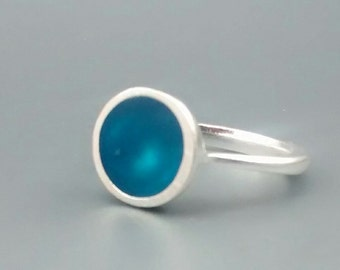 Teal Blue and Sterling Silver Ring