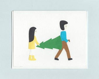 Christmas in the City couple - papercut collage card