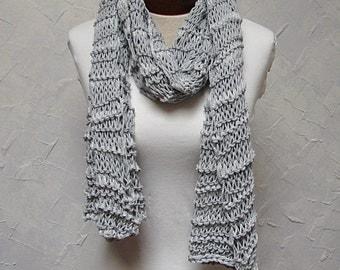 Shawl, Scarf or Wrap in Silver Gray yarns Hand knit Shawl Scarf Gray Silver Sparkle Shawl or Scarf