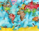 Personalized Children's Kid's WORLD turquoise or blue watercolor fun art nursery map poster by Marley Ungaro