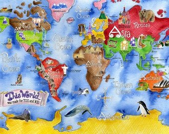 World Map for kids 30 x 42 inch HUGE blue watercolor art nursery poster by Marley Ungaro
