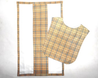 Bib and Burp Set Yellow Orange with Blue Tartan
