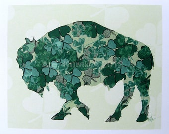 St. Patrick's Day Buffalo Cards - Irish Shamrock Cards -  Blank Note Cards - SET of 2 - Buffalo Art - Buffalo NY - Buffalo Gift