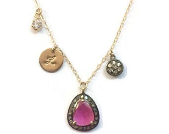 Natural ruby gemstone set in genuine diamond rim with hand stamped disc and accents, personalized pendant necklace, gift for her