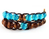 Blue and Brown with Gold Clasp - Ablet Knitting Abacus - Row Counting Bracelet