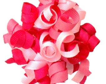 KORKER ONLY: Tri Color Pink Grosgrain Korker Bow Removable Dog Collar Add-on