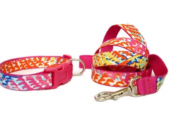 Dog Collar and Leash Set Made from Lilly Pulitzer Fall 2014 Cameo White Electric Feel Fabric on Pink Size: Your Choice