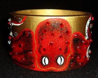 Octopus - Handpainted Gold  Steampunk Wooden Bracelet With Swarovski Crystals