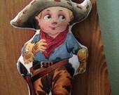 Little Buckaroo -  Mixed Media Retro Cowboy Hanging Art Piece